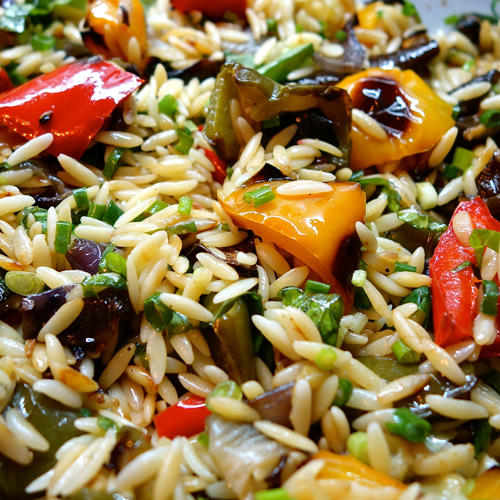 (V) Orzo Pasta W/ Grilled Vegetables and Herb Pesto